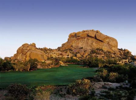 The beautiful hole #5 among the rocky boulders on the South Course of The Boulders in Scottsdale, Arizona