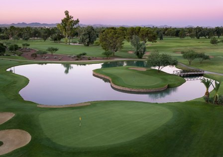 An island green on the Blue Course at The Wigwam Resort in Goodyear, Arizona