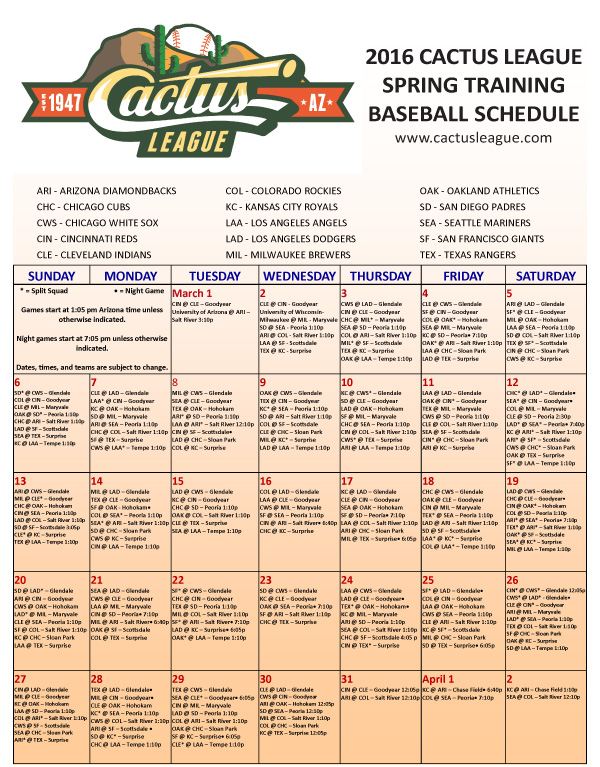 arizona-cactus-league-schedule-2016